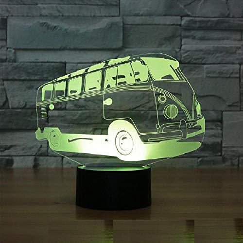 Bus - auto Optische Illusions-Lampen Tolle 7 Farbwechsel Acryl berühren Tabelle Schreibtisch-Nachtlicht mit USB-Kabel für Kinder Schlafzimmer Geburtstagsgeschenke Geschenk