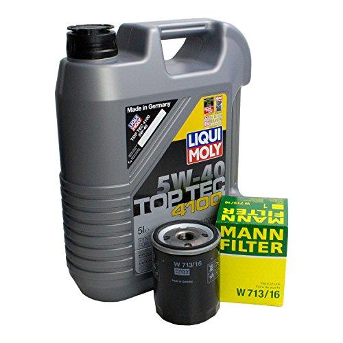 LIQUI MOLY Top Tec 4100 5W-40 3701 + MANN FILTER Ölfilter W 713/16