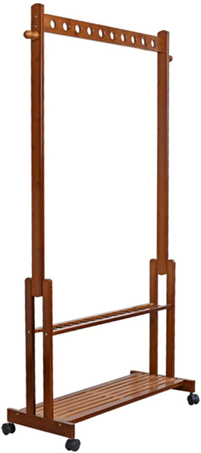 Floor Standing Hat and Coat Rack Clothes Hat Tree Stand Hanger Movable Pulley Multifunction Assembly Bedroom Simple Household GAOFENG (color   Brown, Size   60CM)