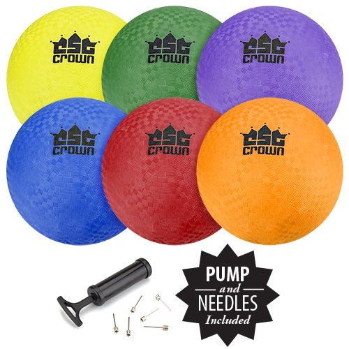 Crown Sporting Goods Set of 6 Playground Balls with Hand Pump and...