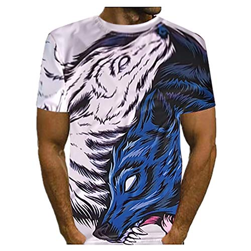 3D T-Shirts for Men Summer Tee Crewneck Mesh Breathable Wolf Head Print Round Neck Short Sleeve Top Blouse