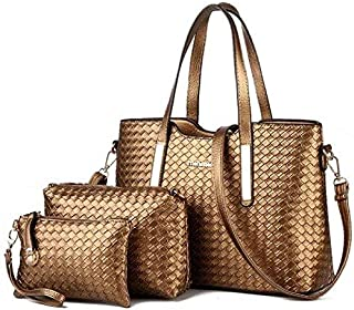 Leather Woven Hand Bag 3 Pcs Set