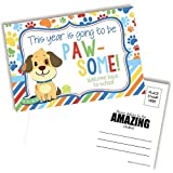 Cute Puppy Dog Themed Welcome Back To School Blank Postcards For Teachers To Send To Students, 4'x6' Fill In Notecards by AmandaCreation (30)