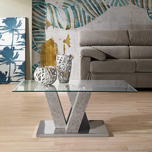 Mocada Yuri Tavolino da Salotto in Legno Acciaio e Cristallo Soggiorno Design (Cemento)