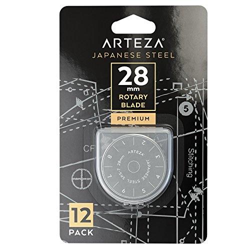 ARTEZA Rollschneider-Klingen, 28 mm Ersatzklingen für Rollmesser, 12 Stoffschneider-Klingen, hochwertiger SKS-7 Wolfram-Stahl