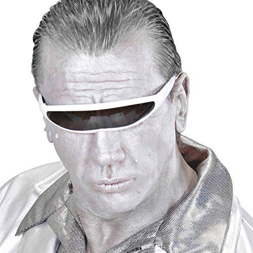 NET TOYS Lentes futuristas Robot - Blanco-Negro - Extraordinario Accesorio de Disfraz Unisex Lentes de Sol espaciales ciborg - Insuperable para Fiesta de Disfraces y Fiesta temtica