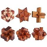 BOROK 6Pack Rompecabezas Madera Puzzles 3D Adultos Juegos de Ingenio Juegos de Mesa Juego IQ Juguete Educativos Habilidad Juego Logica Calendario de Adviento Niños