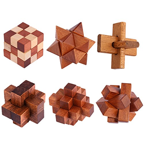 ALLESOK 6St. Knobelspiele aus Holz Puzzle Set Geschicklichkeitsspiele für Erwachsene und Kinder