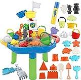 deAO Mesa de Agua y Arena Mesita Infantil para Juegos y Actividades Infantiles al Exterior Incluye Accesorios y Moldes...