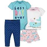 Gerber baby girls 4-piece Shirt, Bodysuit, and Skirted Ruffle Panty Pants Set, Blue Nautical, 3-6M US
