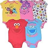 Sesame Street Baby Girls 5 Pack Bodysuits Big Bird Abby Elmo Cookie Monster 18 Months