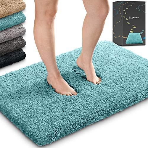 Tapis de salle de bain moelleux dans toutes les couleurs 50 x 80 cm Idéal comme tapis de salle de bain, tapis WC sans découpe et tapis de bain Turquoise/bleu pétrole