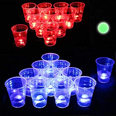 Six Senses Media The Dark Beer Pong Set,Beer Pong Party Cup Set, LED Beer Pong Cups and Glow-in-The-Dark Balls,22 Set from Six Senses Media