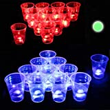 Six Senses Media The Dark Beer Pong Set,Beer Pong Party Cup Set, LED Beer Pong Cups and Glow-in-The-Dark...