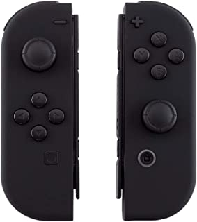 eXtremeRate Soft Touch Grip Black Joycon Handheld Controller Housing with Full Set Buttons, DIY Replacement Shell Case for...
