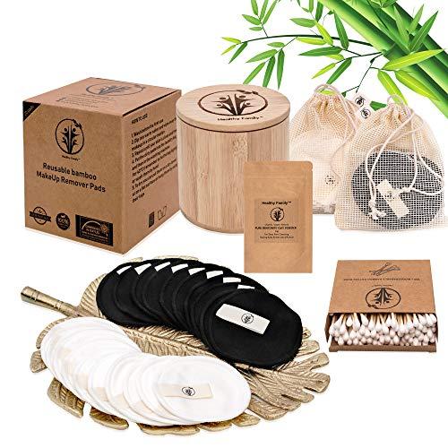 Waschbare umweltfreundliche Bambus & Baumwolle Abschminkpads von Healthy Family, 20 Kosmetik-Pads wiederverwendbar und nachhaltig, ink Bambuskörbchen und 2 Wäschesacke