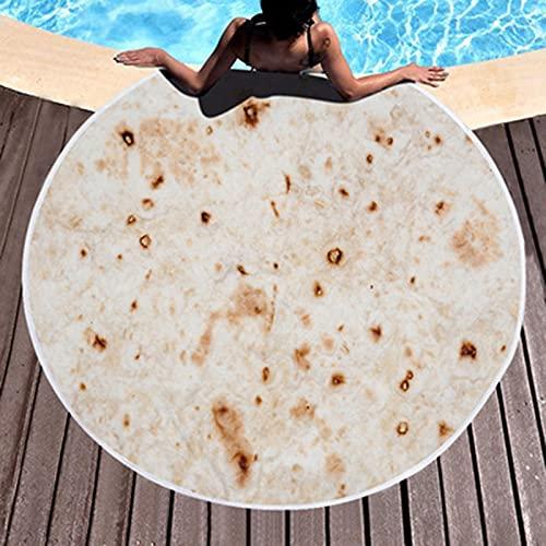 Manta De Burrito - Envuélvete como Un Burrito Humano Gigante - Toalla De Playa Redonda Tortilla Taco para Niños O Adultos 180X180cm