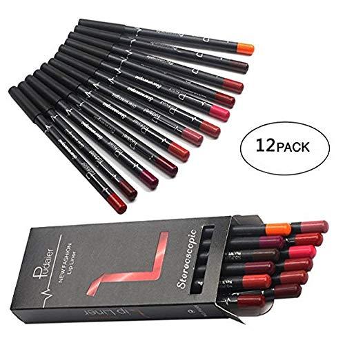 TEEROVA Doublure À Lèvres 12 Couleurs Crayon Mat Brume Étanche Longue Durée Rouge À Lèvres Liner Set