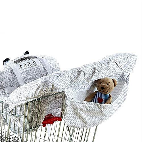 Funda de asiento de seguridad para carrito de la compra, de poliéster, diseño de rayas, color gris