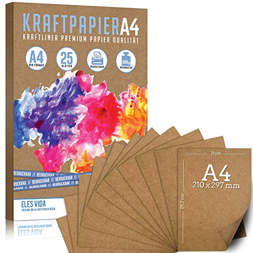25 Blatt Kraftpapier A4-300 g - 21 x 29,7 cm - EXAKTES DIN Format - Bastelpapier & Naturkarton Pappe Blätter aus Kraftkarton zum Basteln für Kartonpapier Vintage Hochzeit Geschenke und Etiketten