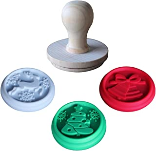Christmas Silicone Cookie Stamps - Set of 3 Heat Resistant Stamps Include Christmas Bell, Reindeer, Tree and 1 Wood Press, Party Novelty DIY Baking Gift, Non stick and BPA Free