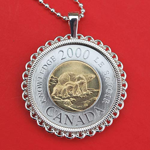 2000 Canada 2 Dollars BU Unc Coin Solid 925 Sterling Silver Necklace - A Female Polar Bear and Her Two Cubs at the Edge of an Ice Floe