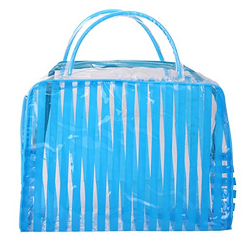 4 Pics rayé bleu PVC Sac étanche Wash Cosmetic Pouch