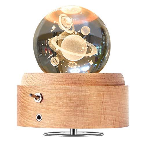 DUTISON Kristallkugel Spieluhr, 360° Rotierende hölzerne Spieluhr mit Licht, Beleuchtete Projektionsfunktion, Geschenk für Weihnachten, Erntedankfest, Geburtstag, Valentinstag - Planeten
