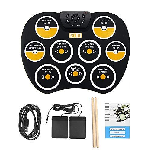 Volwco Juego de tambores, Almohadilla de tambor de silicona, Portátil Electrónico Rollo Up Tambor, 9 almohadillas etiquetadas y 2 pedales, juego de baquetas con conector para auriculares integrado