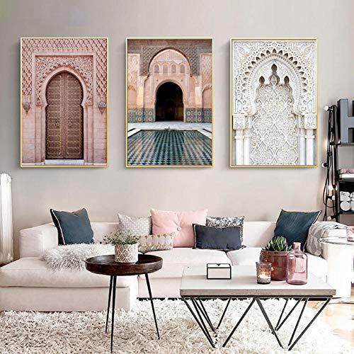 wymhzp Leinwand Wandkunst Tür Religion Poster Wandkunst Leinwand Malerei Casablanca Palace Wandbilder Für Wohnzimmer Dekor 40x60 cm x 3 Kein Rahmen