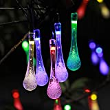 AUMGY LED Solar String Lamps 50 LEDs Decorative Lighting Outdoor Waterproof 29 feet for Garden Courtyard Wedding Party Christmas (Water Drop, Color)