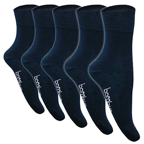 5 Paar Bambus-Socken-Herren-Damen   Strümpfe Schwarz Weiß Beige Braun Blau Anthrazit   Stoff Viskose ✓ Venenfreundlich ✓ Mit Komfortbund ✓ von SGS (43-46, 5 Paar Dunkelblau)