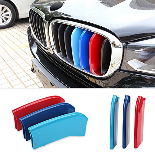 VANJING M-Colored Stripe Grille Insert Trims for BMW 2014 2015 2016 2017 2018X 5, 2015 2016 X 6 Center Kidney Grill