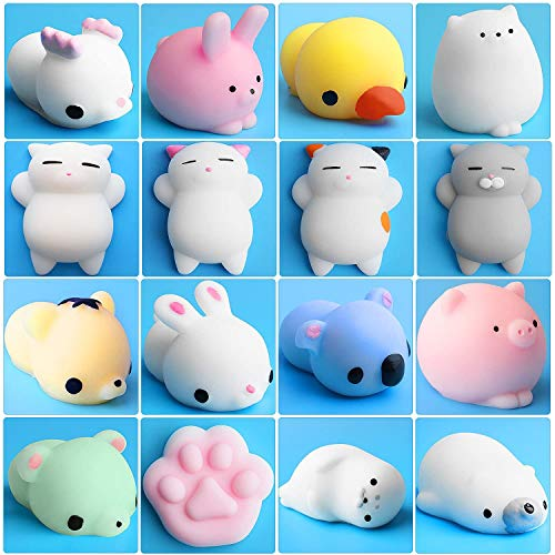 Mochi Animals Toys, Outee 16 Pcs Mochi Cat Stress Relief Toys Mochi Animals Toys Mini Animals Cat with Felt Bag