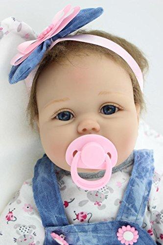 Scnbom 22inch 55cm Reborn Babys Madchen silikon lebensechte Puppen wie echtes Toddler Augen offen Junge babypuppen günstig