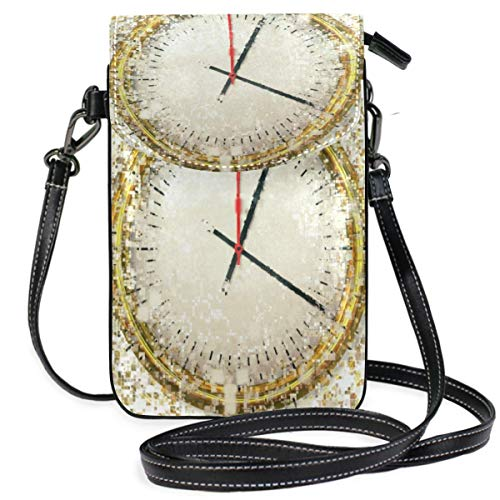 XCNGG Time Distortion Grid Clock Cell Phone Purse Wallet for Women Girl Small Crossbody Purse Bags