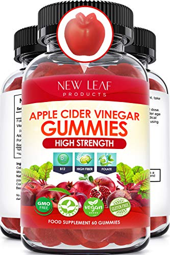 Apple Cider Vinegar Gummies Vitamins - ACV 1000mg - Apple Cider Vinegar Gummy - Energy Boost & Detox - Vegan, Non-GMO & Gluten-Free - Fortified with Vitamin B12 and Folate - 60 Count