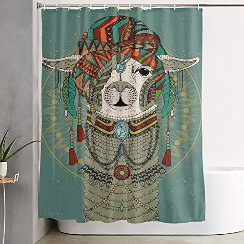 VINISATH Cortinas de Ducha,Sombreros Coloridos con Llama con Accesorios, Pendientes, Collar, Animal Abstracto,Cortina de baño Decorativa para baño,bañera 180 x 180 cm