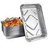 UTRUGAN 25 PCS Bandejas de Papel Aluminio Rectangulares Bandejas de Aluminio Desechables para Parrilla Bandejas de Aluminio Resistentes al Calor Bandejas Desechables para Barbacoa 31,6 x 21,2 x 4,2cm