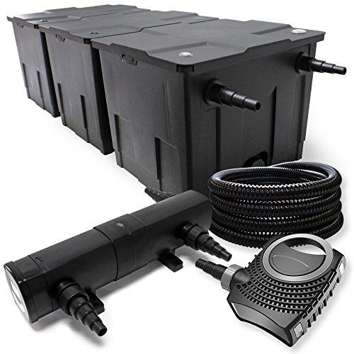 Filter Set aus Bio Teichfilter bis 90000l UVC Klärer mit 36W 80W Pumpe und 25m Schlauch