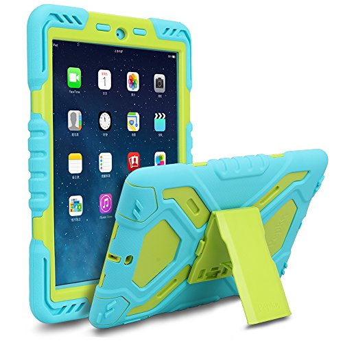 New ipad 2017/2018 Case, Military Extreme Dual Layer Hard PC Shockproof case with Kickstand Built-in Screen Protector Kid-proof Heavy Duty case 9.7 inch New ipad 2017/2018(ipad Air/ipad 5, Blue/Green)