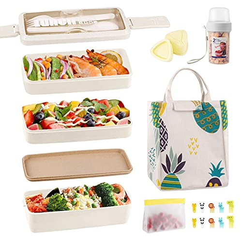 Bento Box Japanese Lunch Box Kit, Iteryn 3 Layer Bento Lunch Box for...