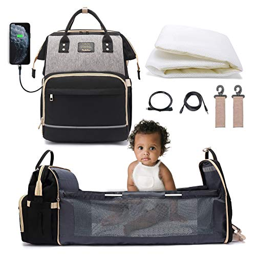 Adebo Baby Diaper Bag Backpack with Fodable Baby Crib| 3 in 1 Upgraded Muti-Functional Mommy Bag with Changing Station | Nappy Bag with USB Charging Port| Portable Baby Bassinet Travel Bag(BlackGrey)