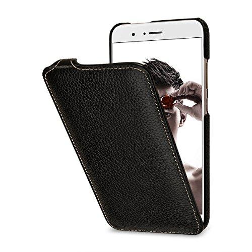 StilGut Leder-Hülle kompatibel mit Huawei Honor 8 Pro vertikales Flip-Hülle, schwarz