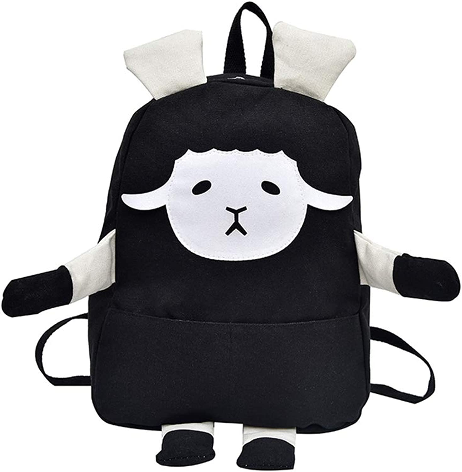Women's School Bag Soft Sister high School Students Wild Simple Canvas Backpack Small Goats to go Out to Learn a New and Beautiful Practical Bag (Black and White Two colors)