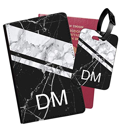 Personalised Marble PU Leather Passport Holder Travel Wallet & Luggage Tag Set - 07