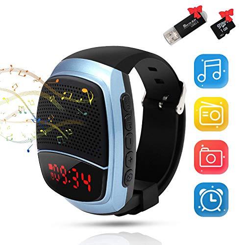 Musik Sportuhr, Tragbarer Bluetooth Lautsprecher, HD Stereo Starkem Bass, mit TF-Karte und Kartenleser, Musik ohne Handy abspielen, Smartwatch mit FM Radio, Wecker, Stoppuhr