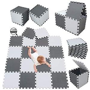 meiqicool Alfombrillas para Puzzles | Alfombra Puzzle para Niños Bebe Infantil Suelo de Goma EVA Suave 142 x 114 cm 18 Piezas Blanco Gris 0112
