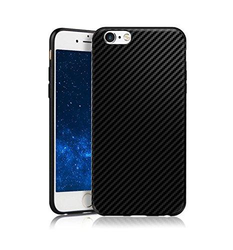 MADIBA Hülle kompatibel mit iPhone 6 Hülle Carbon Hülle Design Black (Ultra Dünn [FederLeicht] Handyhülle Bumper Cover Schutz Silikon