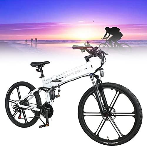 SUNWEII Bicicleta eléctrica Bicicleta de ciclomotor eléctrica Inteligente Plegable portátil 500W Motor...